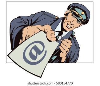 Stock illustration. People in retro style. Presentation template. Postman with letter in hand.