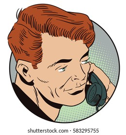 Stock illustration. People in retro style pop art and vintage advertising. Man with retro phone.
