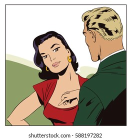 Stock illustration. People in retro style pop art and vintage advertising. Young woman talking with man.
