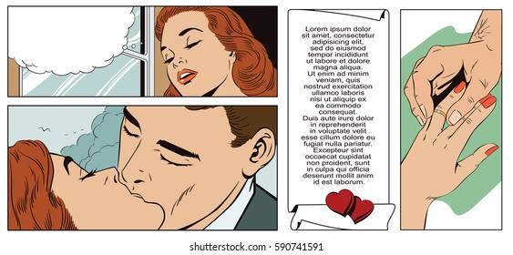 Stock illustration. People in retro style pop art and vintage advertising. Romantic girl dreams of personal happiness and wedding.