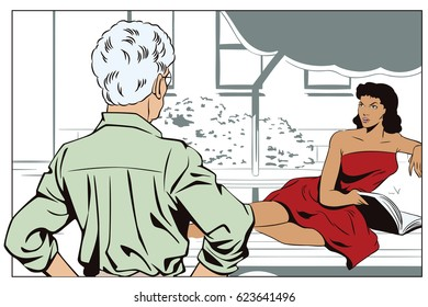 Stock illustration. People in retro style pop art and vintage advertising. Two women are talking in courtyard of house.