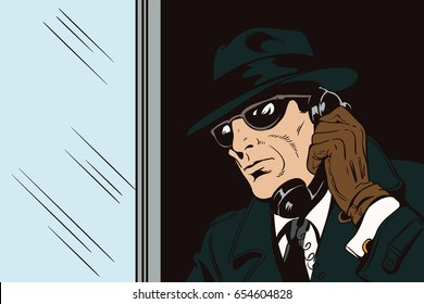 Stock illustration. People in retro style pop art and vintage advertising. Spy with antique phone.