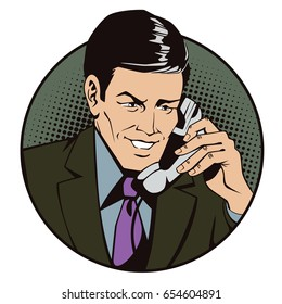 Stock illustration. People in retro style pop art and vintage advertising. Man with antique phone.