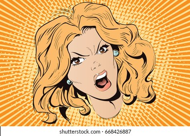Stock illustration. People in retro style. Presentation template. Young beautiful woman screams in fury.