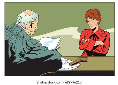 Stock illustration. People in retro style pop art and vintage advertising. Judge in courtroom. An indifferent woman.