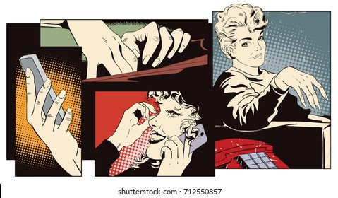 Stock illustration. People in retro style pop art and vintage advertising. Collage on theme communication. Girl with telephone.