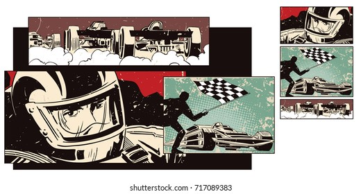 Stock illustration. People in retro style pop art and vintage advertising. Collage on theme sport and car racing.