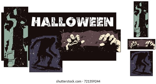 Stock illustration. People in retro style pop art and vintage advertising. Collage on theme halloween.