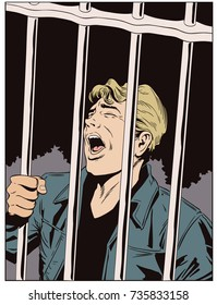 Stock illustration. People in retro style pop art and vintage advertising. Male in jail. Man is behind prison lattice.