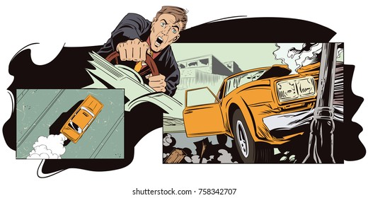 Stock illustration. People in retro style pop art and vintage advertising. Car crashed into a pillar.