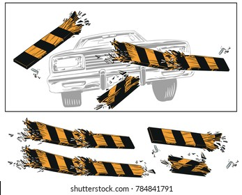Stock illustration. People in retro style pop art and vintage advertising. Accident. Breaking fence barrier.