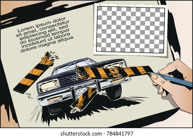 Stock illustration. People in retro style pop art and vintage advertising. Accident. Car breaking fence barrier.