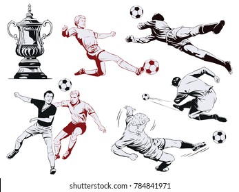 Stock illustration. People in retro style pop art and vintage advertising. Set of football players.