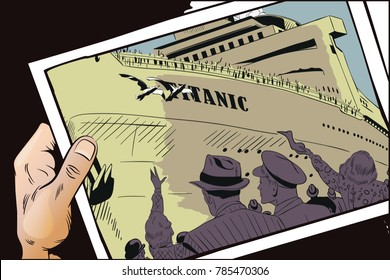 Stock illustration. People in retro style pop art and vintage advertising. People are looking at Titanic.