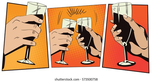 Stock illustration. Style of pop art and old comics. Hands of men and women with glasses of wine.