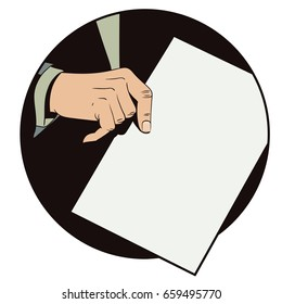 Stock illustration. Style of pop art and old comics. hand with paper.