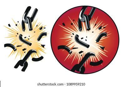 Stock illustration. Vector broken chain.