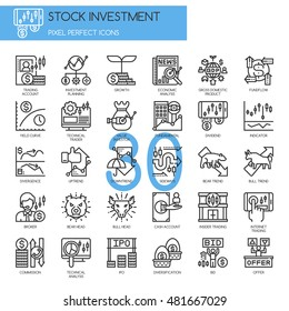 Stock Investment , Thin Line and Pixel Perfect Icons