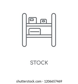 Stock linear icon. Stock concept stroke symbol design. Thin graphic elements vector illustration, outline pattern on a white background, eps 10.