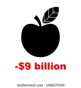 Stock Loses Billions. Apple sign with red arrow down. Vector illustration