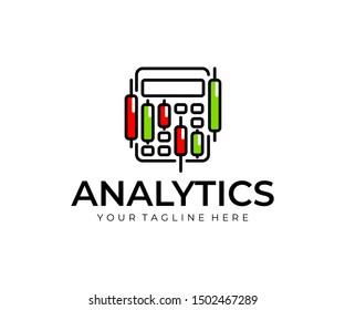Stock market accounting logo design. Stock market graphs analysis vector design. Trading candlesticks and calculator logotype