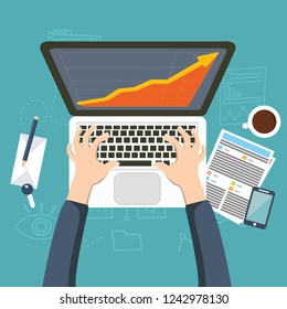Stock market analysis,finance.Flat style illustration.Money investing.Global economy, market news.Forex trading tips.Investment banking.Futures market trading.Financial investment.Long term investment