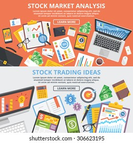 Stock market analytics, stock trading ideas flat illustration concept set. Top view. Modern flat design concepts for web banners, web sites, printed materials, infographic.Creative vector illustration