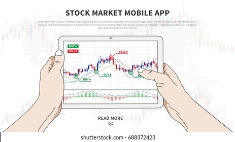 Stock market app vector illustration. Application for investment and online trading for devices. Stock market mobile software graphic design. Hands hold tablet with japanese candlestick chart on it.