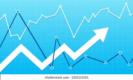 Stock market arrow on a blue background