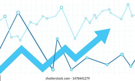 Stock market with arrow. White background