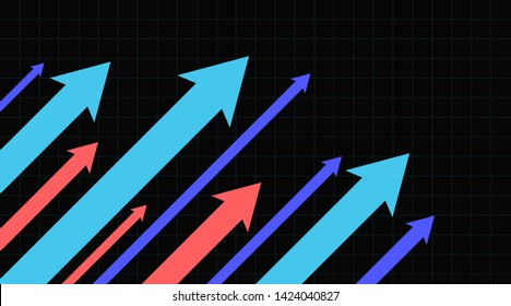 Stock market arrows going up. Growth success arrow. Black background.