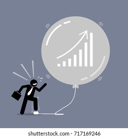 Stock Market Bubble. Vector artwork depicts a happy businessman keep inflating a bubble balloon to make it bigger and bigger. The balloon is about to burst but the man does not care about it.