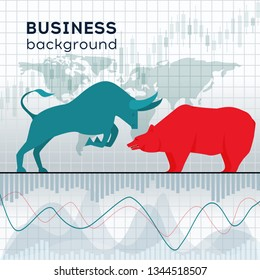 Stock market and business concept. The symbol stock market of the bull and bear. Vector illustration.