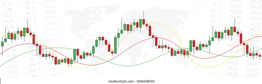 Stock market candlestick chart with world map vector illustration. Green and red japanese candle bars graph with colorful curves graphic design. Long width creative concept.