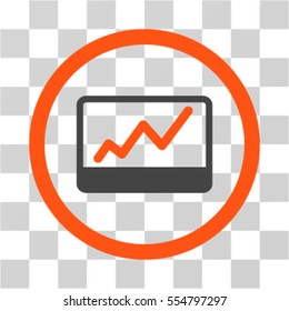 Stock Market Chart vector bicolor rounded icon. Image style is a flat icon symbol inside a circle, orange and gray colors, transparent background.