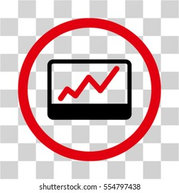 Stock Market Chart vector bicolor rounded icon. Image style is a flat icon symbol inside a circle, red and black colors, transparent background.