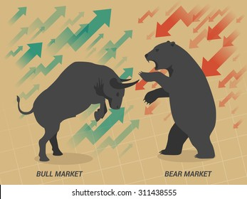 Stock market concept bull vs bear are facing and fighting on brown paper background
