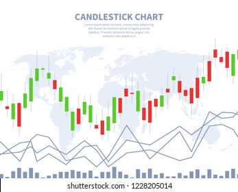Stock market concept. Candle stick chart world map. Global financial marketing, exchange investment abstract forex vector concept