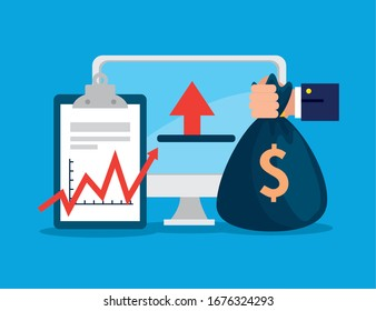 stock market crash with computer and icons vector illustration design