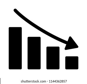 Stock market crash or economic / financial recession with falling bar graph flat vector icon for finance apps and websites