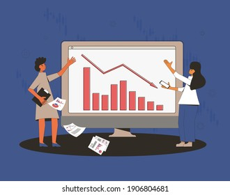 Stock market crash. Invest in the company's bonds fail. Traders report. Sad women with graphic of stocks plummeting on computer screen. Collapsing prices. Global recession. Vector illustration.