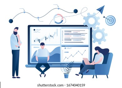 Stock market data analysis. Team of statistical analysts or businesspeople analyzing statistical information. Group of people working. Business data analysis process, statistics. Vector illustration