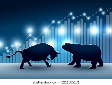 Stock market design of bull and bear with graph and chart vector illustration