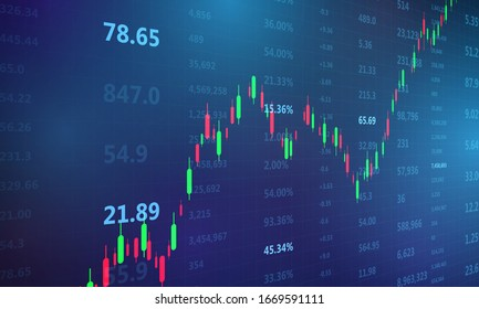 stock market, economic graph with diagrams, business and financial concepts and reports, abstract blue technology communication concept vector background