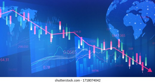 stock market, economic graph with diagrams, business and financial concepts and reports. abstract technology communication concept. vector background.