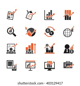 stock market element vector icon set on white background