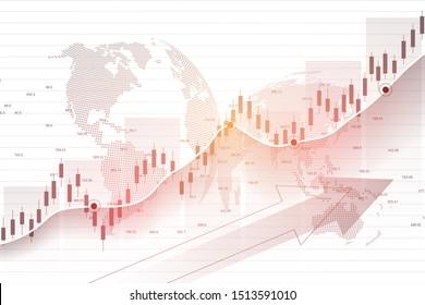 Bourse et bourse. Graphique à bougies d'affaires: graphique à bougies d'échange d'investissements en bourse. Données boursières. Point en bulgare, Tendance du graphique. Illustration vectorielle.