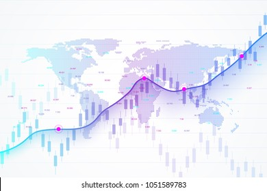 Stock market and exchange. Candle stick graph chart of stock market investment trading. Stock market data. Bullish point, Trend of graph. Vector illustration