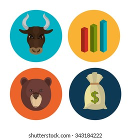 Stock market and exchange graphic icons, vector illustration eps10