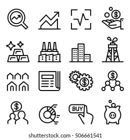 Stock market & Stock Exchange icon set in thin line style